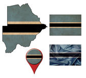 Grunge Botswana flag, map and map pointers  — Stok fotoğraf