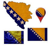 Grunge Bosnia and Herzegovina flag, map and map pointers  — Stok fotoğraf