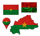 Grunge Burkina Faso flag, map and map pointers  — Foto Stock