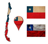 Grunge Chile flag, map and map pointers  — Foto Stock