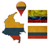 Grunge Colombia flag, map and map pointers  — Stok fotoğraf