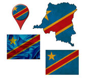Grunge Democratic Republic of the Congo flag, map and map pointe — Stock Photo