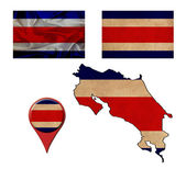 Grunge Costa Rica flag, map and map pointers  — Foto Stock