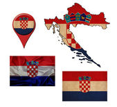 Grunge Croatia flag, map and map pointers  — Stok fotoğraf