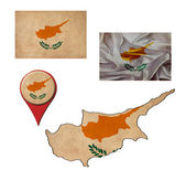 Grunge Cyprus flag, map and map pointers  — Stok fotoğraf