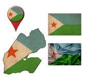 Grunge Djibouti flag, map and map pointers  — Stock Photo