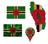 Grunge Dominica flag, map and map pointers  — Stock Photo