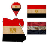Grunge Egypt flag, map and map pointers  — Foto Stock