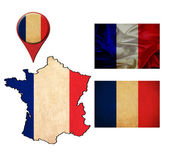 France flag, map and map pointers  — Stock fotografie