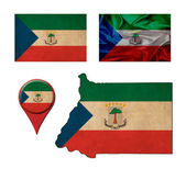 Equatorial Guinea flag, map and map pointers  — Stock fotografie