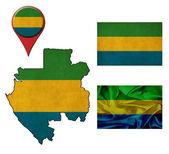 Pointeurs de drapeau, carte et carte gabon — Photo