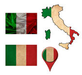 Italy flag, map and map pointers  — Stock fotografie