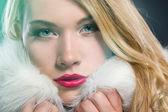 Pretty blonde woman in winter coat — Stock Photo