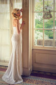 Woman in a white long dress — Stock Photo