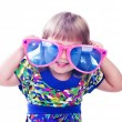 3 years old funny girl wearing colorful glasses isolated over wh — Stock Photo #12526208