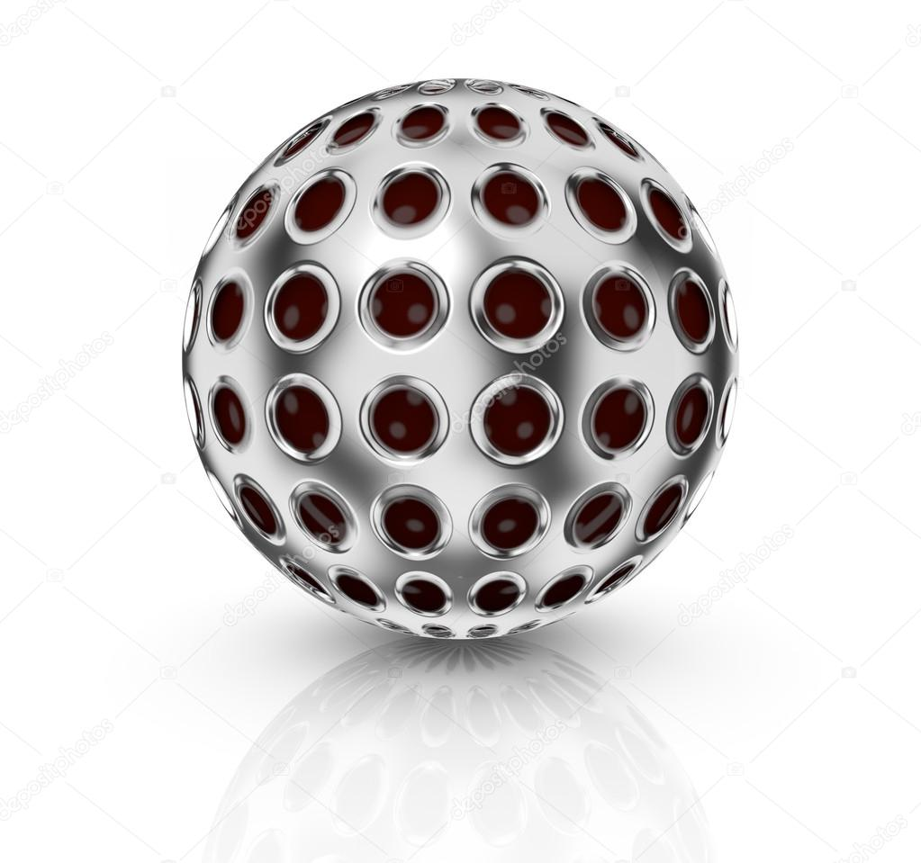 Front view of a sphere mapped with a metal grid texture (3d render) — Stock Photo #16247387