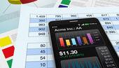Akciový trh a technologie, koncept — Stock fotografie