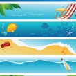 Stock Vector: Set of 6 summer beach banners