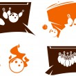Set of bowling icons — Stock Vector