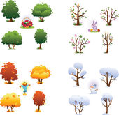 Set of trees: four seasons — Stock Vector