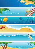 Set of 6 summer beach banners — Stock Vector