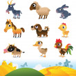Stock Vector: Cartoon farm animals