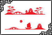 Two abstract Asian Landscape — Stockvector