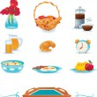 Breakfast icons set, vector — Stock Vector