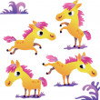 Set of cute cartoon pony — Stock Vector
