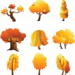 Set of trees - autumn — Stock Vector