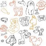 Doodle perros conjunto - lápiz sobre papel — Vector de stock