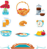 Breakfast icons set, vector — Stock Vector