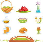 Breakfast green icons set, vector — Stock Vector