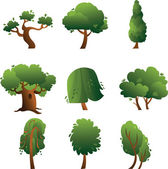 Set of trees - summer — Stock Vector