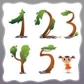 Дерево номер на белом фоне. — Cтоковый вектор