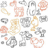 Doodle dogs set - pen on paper — Stock Vector
