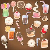 Dessert and drinks — Stock Vector