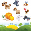 Isolated cartoon farm animals on white background and farm lands - Stock Vector