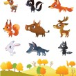 Royalty-Free Stock Vector Image: Set of cartoon forest animals