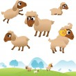 Landscape and set of sheep and Lambs — Imagens vectoriais em stock