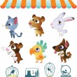 Royalty-Free Stock Векторное изображение: Set of cartoon pets