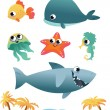 Royalty-Free Stock Immagine Vettoriale: Set of sea animals