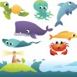 Set of sea animals — Stock Vector