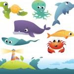 deniz hayvanları kümesi — Stok Vektör #13127324