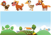 Farm landscape and animals — Stock Vector