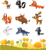 Set of cartoon forest animals — Stock Vector