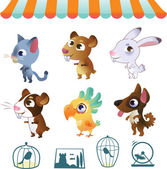 Set of cartoon pets — Stock Vector