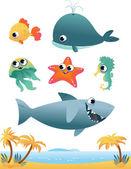 海の動物セット — ストックベクタ