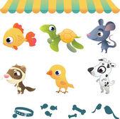 Set of cartoon pets — Stock Vector