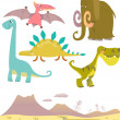 Set of cartoon dinosaurs — Stock Vector